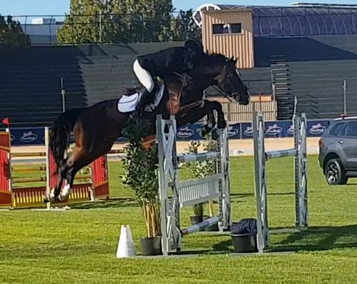 Oaks Volta easily clearing this jump
